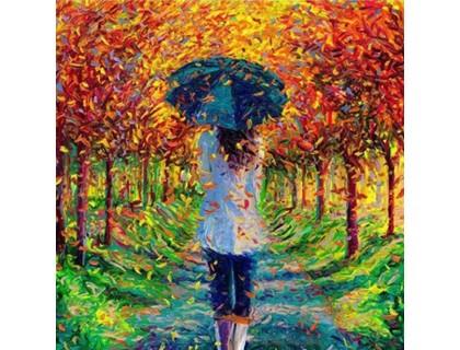 Купить Алмазная вышивка Девушка под зонтом 20 х 20 см (арт. FS156)