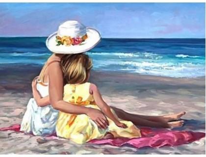 Купить Алмазная вышивка С мамой у моря 40 х 30 см (арт. FS174)