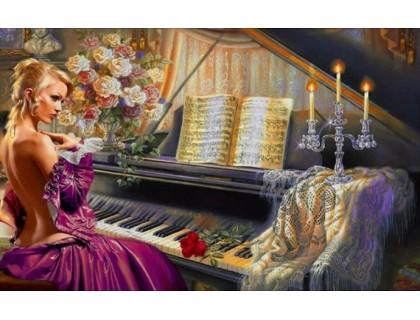Купить Набор алмазной вышивки Прелестная девушка и музыка 40 х 50 см (арт. FS384)