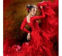 Алмазная вышивка Танцовщица в красном платье 30 х 30 см (арт. FS408)