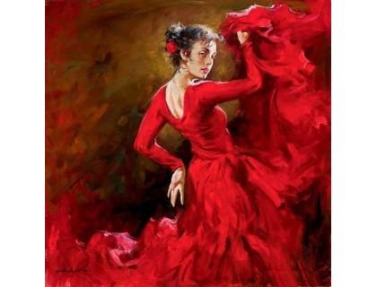 Купить Алмазная вышивка Танцовщица в красном платье 30 х 40 см (арт. FS408)