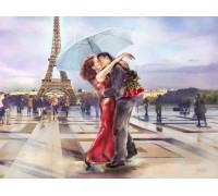 Алмазная вышивка 50 х 40 см на подрамнике Поцелуй в городе любви (арт. TN645)
