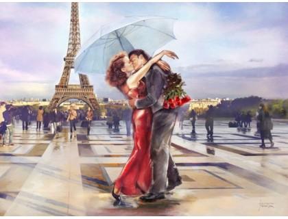 Купить Алмазная вышивка 50 х 40 см на подрамнике Поцелуй в городе любви (арт. TN645)