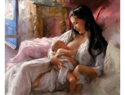 Купить Алмазная мозаика Мать с младенцем 40 х 30 см (арт. FS426) рисование камнями
