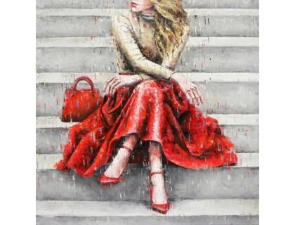 Купить Алмазная вышивка полностью Девушка под дождем 40 х 40 см (арт. FS634)