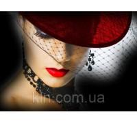 Картина с алмазной вышивки 30 х 45 см Дама в красном (арт. FS723) полная выкладка