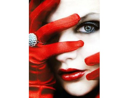 Купить Алмазная вышивка квадратные камни Леди в красном 40 х 30 см (арт. FS777)