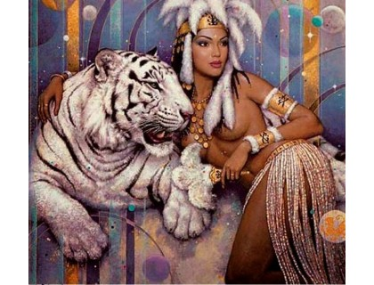 Купить Алмазная вышивка квадратные камни Царица тигров 40 х 40 см (арт. FS851)