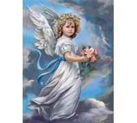 Алмазная вышивка 40 х 50 см на подрамнике Молитва ангелочка (арт. TN739)