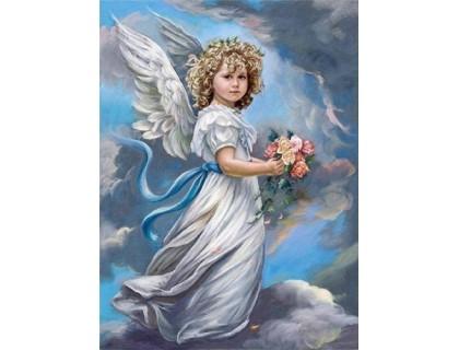 Купить Алмазная вышивка 40 х 50 см на подрамнике Молитва ангелочка (арт. TN739)