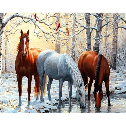 Алмазная вышивка тройка лошадей
