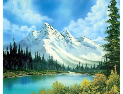 Купить Алмазная вышивка без коробки MyArt Горный пейзаж 40 х 30 см (арт. MA478)
