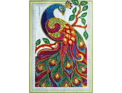 Купить Алмазная мозаика 5D Яркий павлин 34 х 24 см (арт. PR1210)