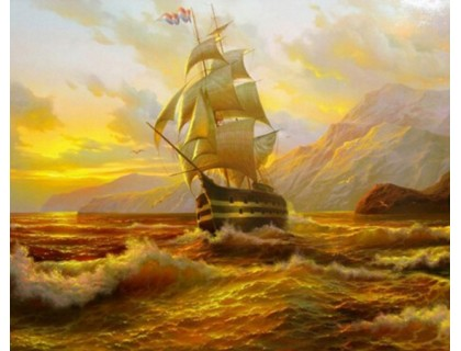 Купить Набор алмазной вышивки Корабль на закате 35x30 см (арт. FS036)