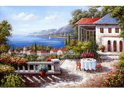Купить Выкладка камнями Дом у набережной 30 х 20 см (арт. FS079)