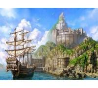 Алмазная вышивка Корабль у берега 40 х 30 см (арт. FS269)