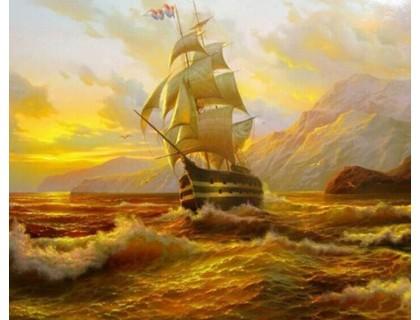 Купить Алмазная мозаика без коробки MyArt Корабль на закате 35 х 30 см (арт. MA487) полная выкладка