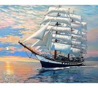 Алмазная вышивка на подрамнике 50 х 40 см Корабль на волнах (арт. TN983)