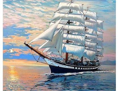 Купить Алмазная вышивка на подрамнике 50 х 40 см Корабль на волнах (арт. TN983)