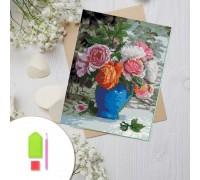Алмазная вышивка на картоне 20 х 30 см Розы в вазе (арт. RK007) круглые камни