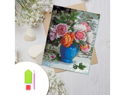 Купить Алмазная вышивка на картоне 20 х 30 см Розы в вазе (арт. RK007) круглые камни