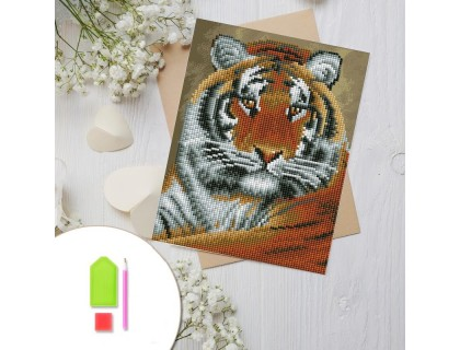 Купить Алмазная вышивка на картоне 20 х 30 см Тигр (арт. RK010) круглые камни