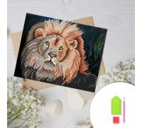 Алмазная вышивка на картоне 20 х 30 см Сильный лев (арт. RK011) круглые камни