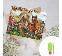Алмазная вышивка на картоне 20 х 30 см Табун лошадей (арт. RK012) круглые камни