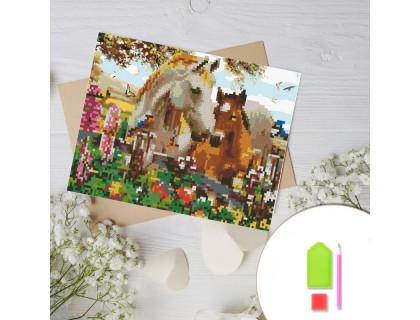 Купить Алмазная вышивка на картоне 20 х 30 см Табун лошадей (арт. RK012) круглые камни