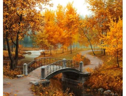 Купить Алмазная вышивка 50 х 40 см на подрамнике Осенние краски (арт. TN008)