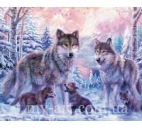 Алмазная вышивка на подрамнике 50 х 40 см Семья волков с волчатами (арт. TN028)