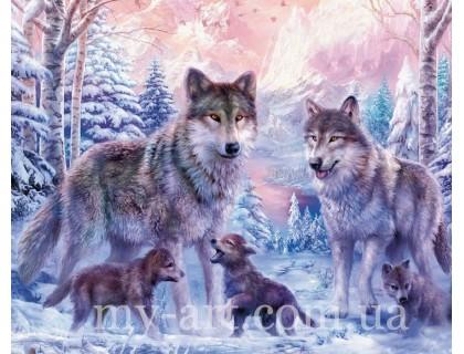 Купить Алмазная вышивка на подрамнике 50 х 40 см Семья волков с волчатами (арт. TN028)