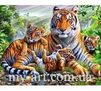 Алмазная вышивка на подрамнике Тигрица с тигрятами 40 х 50 см (арт. TN1003)