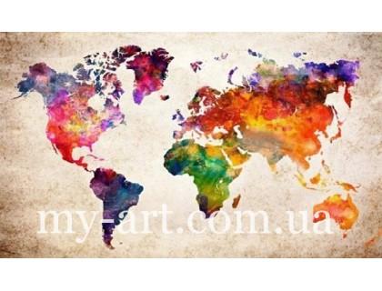 Купить Алмазная вышивка на подрамнике 30 х 50 см Карта мира (арт. TN1027)