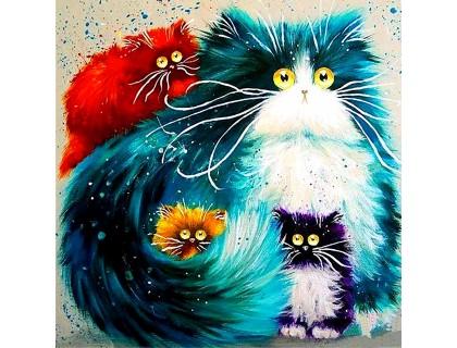 Купить DIY Алмазная вышивка 30 х 30 см на подрамнике Весёлые котята (арт. TN107)