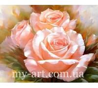 Алмазная вышивка на подрамнике 50 х 40 см Три нежные розы (арт. TN181)