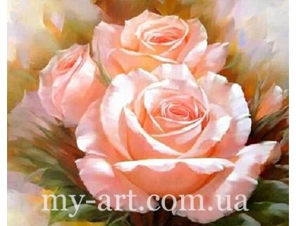 Купить Алмазная вышивка на подрамнике 50 х 40 см Три нежные розы (арт. TN181)