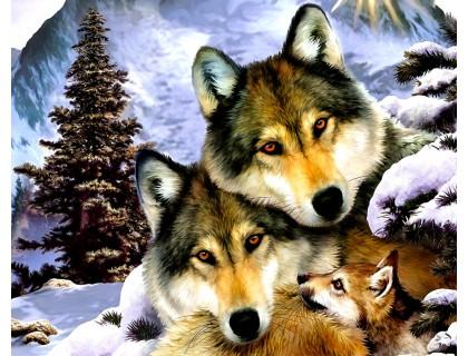 Купить Алмазная вышивка 50 х 40 см на деревянном подрамнике Семейство волков (арт. TN182)