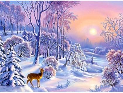 Купить Алмазная вышивка 40 х 30 см на подрамнике Зимний лес (арт. TN355)