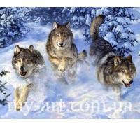 Алмазная вышивка на подрамнике 50 х 40 см Стая волков в снегу (арт. TN403)