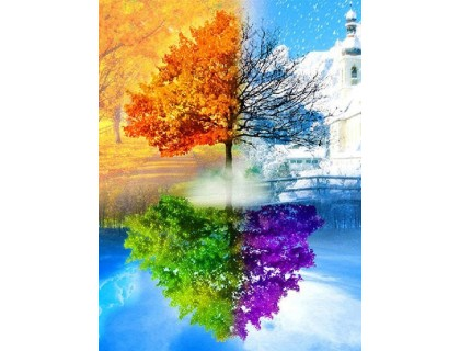Купить Алмазная мозаика на подрамнике Четыре сезона года 40 х 30 см (арт. TN459)