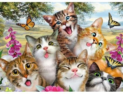 Купить Алмазная вышивка 40 х 30 см на подрамнике Добрые коты (арт. TN907)
