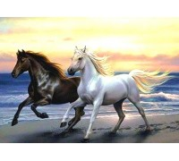 Алмазная вышивка 50 х 40 см на подрамнике Лошади скачут с морским ветром (арт. TN930)