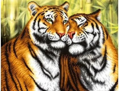 Купить Diamond painting Алмазная вышивка 50 х 40 см на подрамнике Дикие тигры (арт. TN938)
