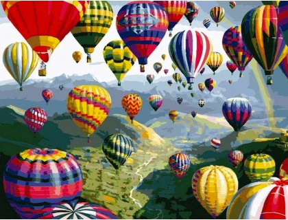 Купить Алмазная вышивка на подрамнике 50 х 40 см Полёт на воздушном шаре (арт. TN942) квадратные камни