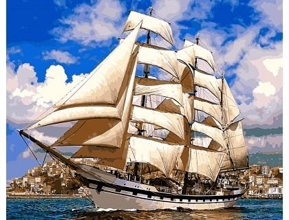 Купить Алмазная вышивка на подрамнике Корабль у берегов Испании 40 х 50 см (арт. TN943)