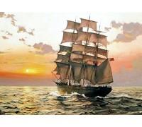Алмазная вышивка на подрамнике Корабль плывет навстречу солнцу 40 х 50 см (арт. TN944)