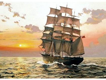 Купить Алмазная вышивка на подрамнике Корабль плывет навстречу солнцу 40 х 50 см (арт. TN944)