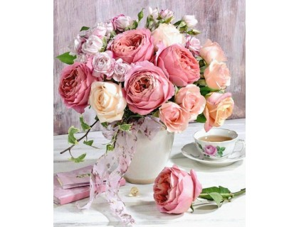 Купить Алмазная вышивка 40 х 50 см на подрамнике Сладкий аромат роз (арт. TN950)