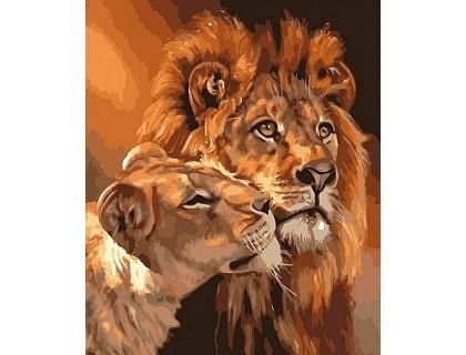 Купить Алмазная вышивка 40 х 50 см на подрамнике Лев с львицей (арт. TN952)